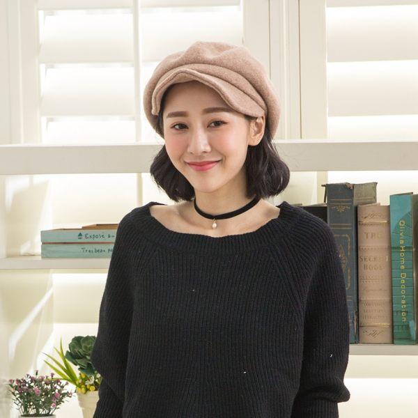 經典素色羊毛貝蕾帽(卡其)