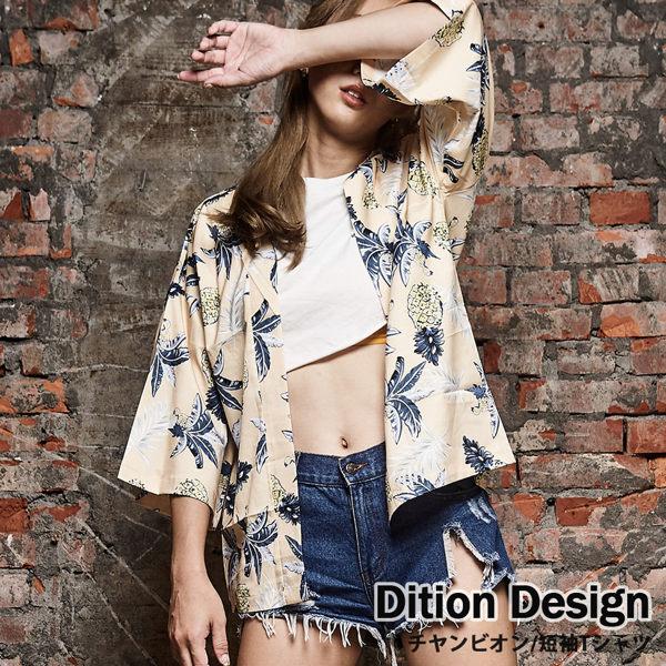 親膚涼感緞面材質 日式短外套 鳳梨羽織道袍