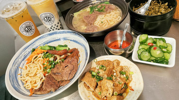 (南京復興站)台北牛肉麵/台北美食推薦-神仙牛肉麵,清燉牛肉麵湯底甘甜又順口,店內還有GTD網美手搖飲可以喝喔