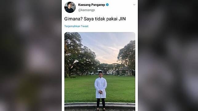 Kaesang Pangarep mengunggah fotonya tak lagi memakai celana jeans. Twitter