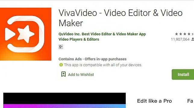 Ilustrasi aplikasi VivaVideo untuk ponsel Android. [Dok Google Play Store]