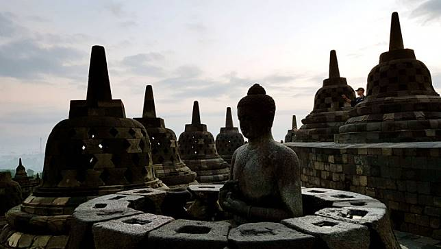 A view of stupas at Borobudur temple.