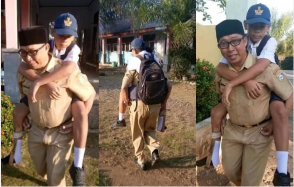 Guru di Sulawesi Tengah gendong muridnya yang alami patah tulang