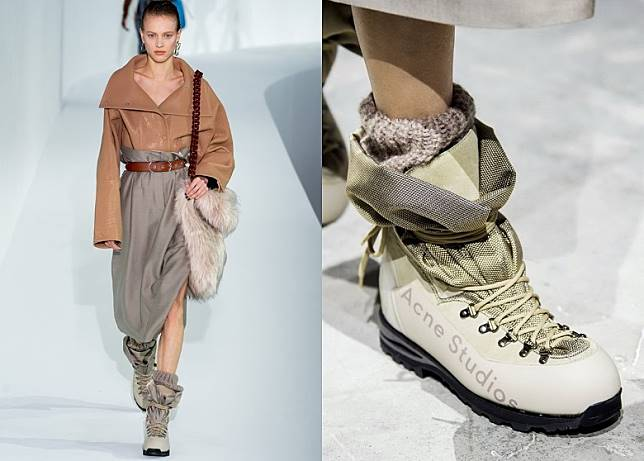 Acne Studio這款布裹式高筒行山鞋時尚有型。(互聯網)