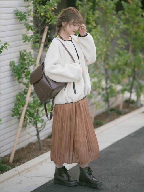 思夢樂 正反兩穿白色毛絨外套