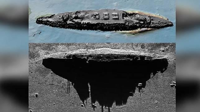 Para peneliti menggunakan dua jenis sonar untuk mendeteksi bangkai kapal perang Jerman Perang Dunia I Scharnhorst. Kredit: Falklands Maritime Heritage Trust