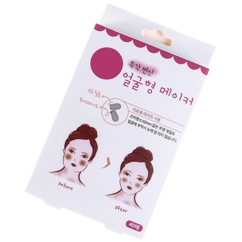 韓國熱銷 小臉神器 抖音 一秒變小臉 透明小臉OK蹦小臉膠布小臉貼V臉貼小顏盒裝40貼 【H01002】