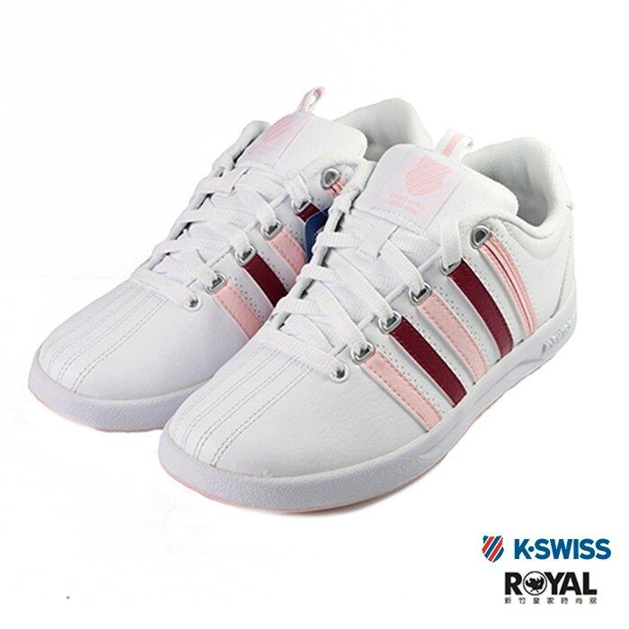 K-swiss Court 白色 皮質 粉色線條 休閒鞋 女款 NO.I9642【新竹皇家】。流行男裝與男鞋人氣店家新竹皇家網路時尚館的全部商品有最棒的商品。快到日本NO.1的Rakuten樂天市場的