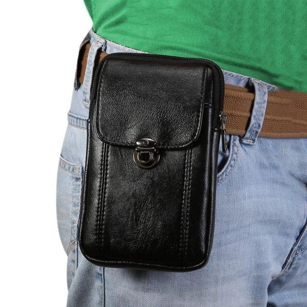 手機腰包 男豎款穿皮帶殼扣掛腰間雙層多功能零錢拉鏈袋中老年皮套