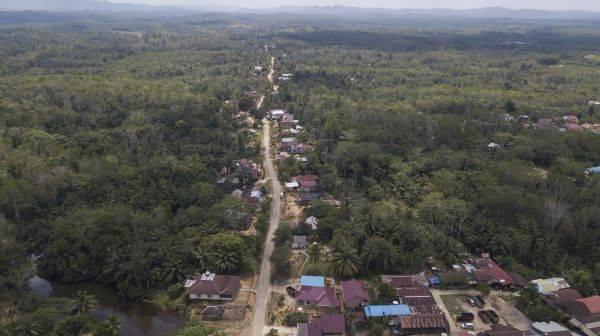 Foto aerial kawasan Kecamatan Sepaku, Penajam Paser Utara, Kalimantan Timur, Rabu (30/8/2019). Sepaku dan Samboja, Kutai Kartanegara