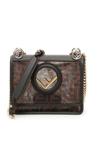 Fendi small leather and micro mesh Kan I bag with all-over FF pattern. The flap features a magnetic