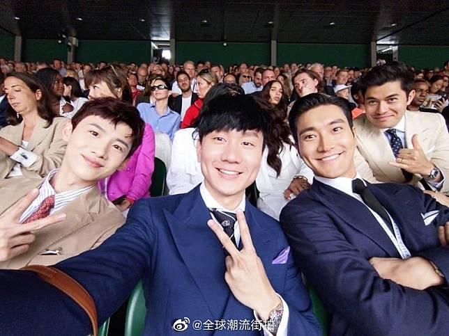 林俊傑與內地藝人白敬亭(左)、韓星崔始源(右)一齊睇頂級網球賽。