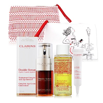 CLARINS克蘭詩黃金雙激萃-超級精華30ml贈UV隔離露10ML+洋甘菊化妝水+化妝包
