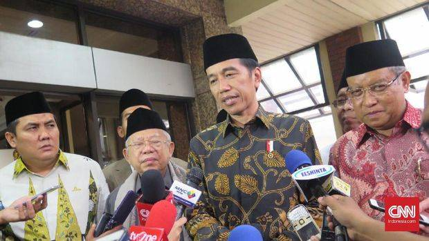 Presiden Joko Widodo menemui petinggi PBNU di Jakarta. (CNN Indonesia/Christie Stefanie)