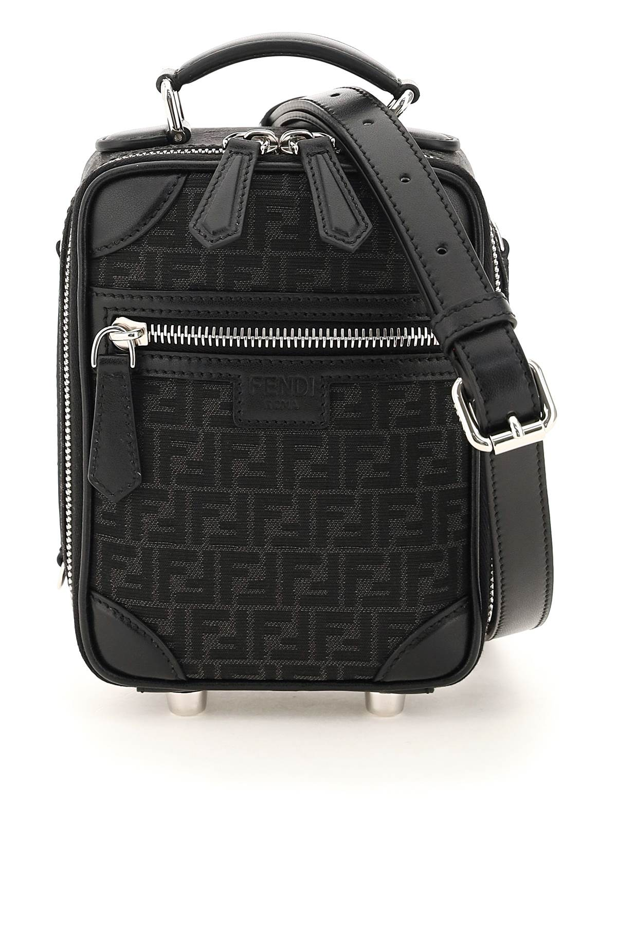 FENDI FF JACQUARD FABRIC MINI TRAVEL BAG OS Black Technical, Leather