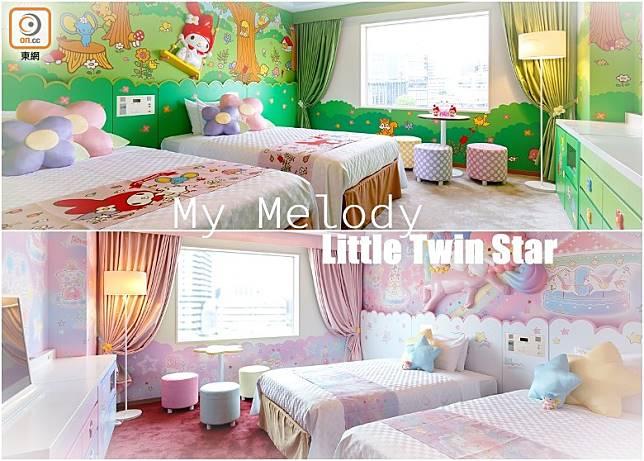 My Melody的主題房間以園野綠色為背色,幾清新啊!而Little Twin Star沿用粉色系列,柔和又舒服。(互聯網)