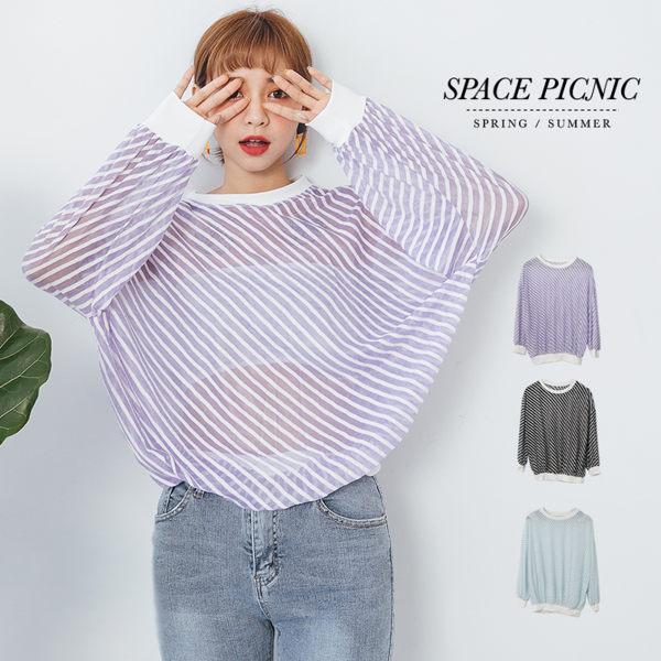 上衣 Space Picnic|條紋微透圓領長袖上衣(現貨)【C18071000】