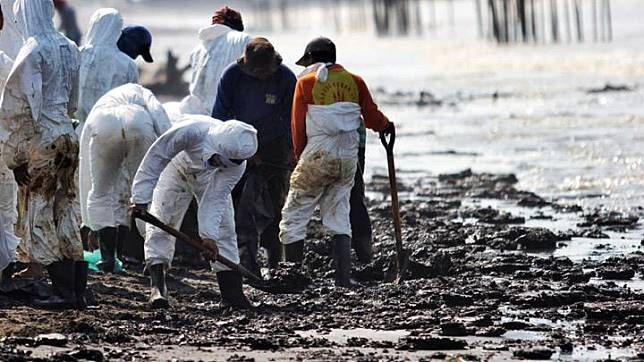 Residents cleaned up the oil spill which was scattered on the Coastal Coast in Cemara Jaya Village, Karawang, West Java, Thursday, August 1, 2019. A number of villages were affected by PT Pertamina's oil spill, one of them was Cemarajaya Village, Cibuaya District, Karawang. TEMPO / Hilman Fathurrahman  W