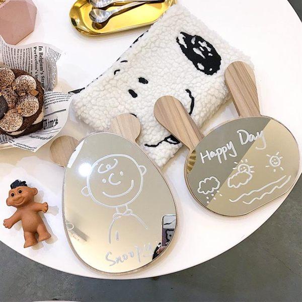韓風北歐簡約可愛兔子小熊木質化妝鏡女生宿舍臥室Ins桌面梳妝鏡 滿天星