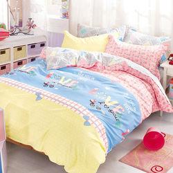 【FOCA-親愛的,約會囉!】加大精梳棉四件式鋪棉兩用被床包組