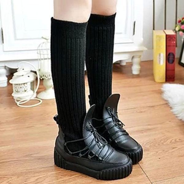 短靴 歐美流行拼接毛線長襪厚底鬆糕鞋【S777】☆雙兒網☆