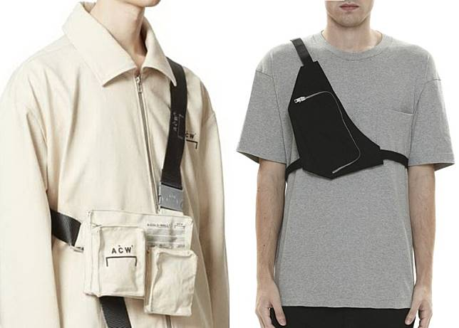 A-COLD-WALL*及1017 ALYX 9SM都有推出「L」形肩帶的Harness Bag。(互聯網)