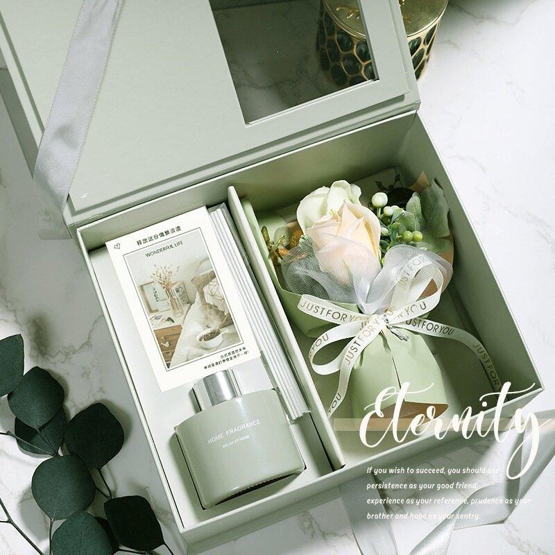 【928教師節】韓系簡約時尚玫瑰香皂花束擴香瓶香薰禮盒M2870