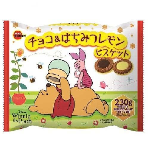 賞味期 2020.06.30 內容量 230g 雙口味2枚X23袋入 日本原裝進口 知名日本廠牌-BOURBON北日本 可愛小熊維尼包裝 香甜可口的蜂蜜檸檬餅乾跟酥脆美味的巧克力餅乾 兩種選擇任您挑選