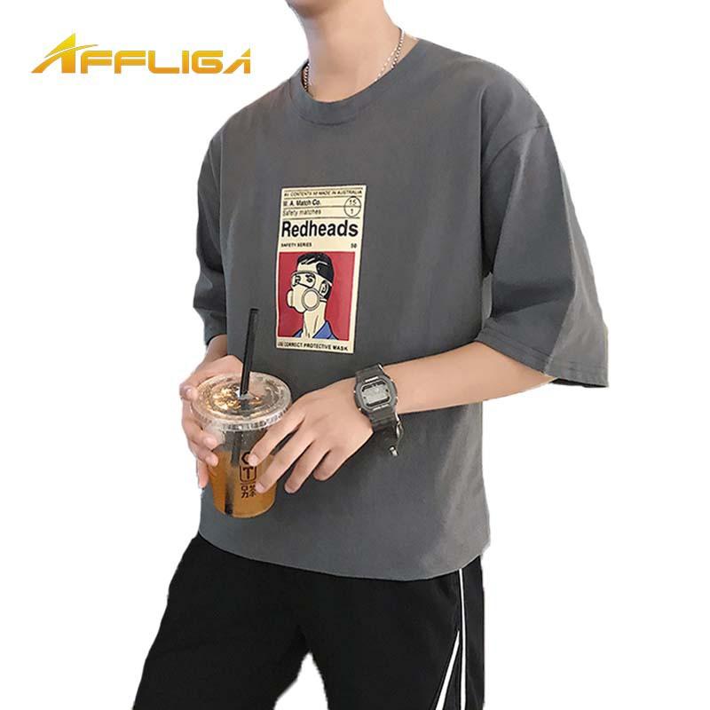 2019夏季新款韓版上衣寬鬆人物卡通短袖T恤男生衣著復古韓國韓系學院風男生寬鬆日系懷舊卡通動漫印花短袖T恤 短袖衣服