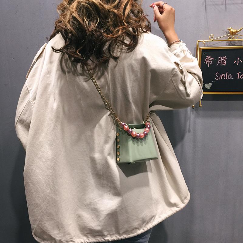 高階感迷你小包包女包2019新款洋氣鏈條單肩小方包手提斜挎珍珠包