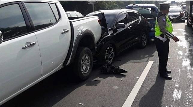 Ilustrasi kecelakaan beruntun di Tol