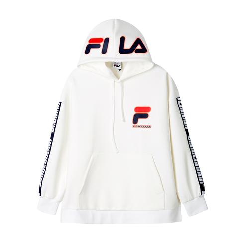 FILA #D-ANTIDOTE聯名 長袖連帽T恤-白色 1TET-1728-WT