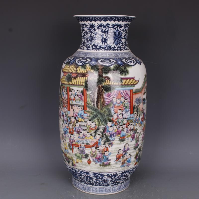 清雍正青花斗彩人物冬瓜瓶仿古家居中式瓷器擺件古董古玩老貨收藏1入