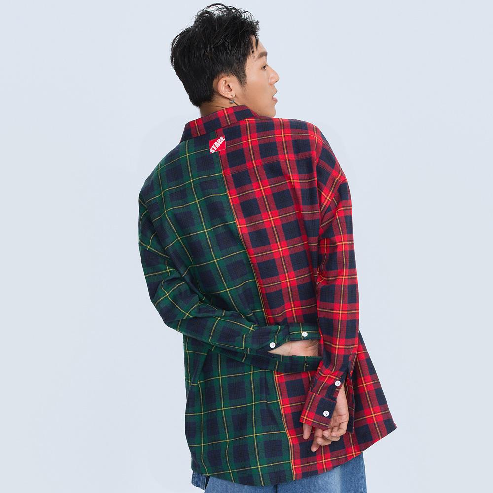 復古拼接格紋襯衫 STAGE FLANNEL LS SHIRT 紅綠色/黃藍色 兩色