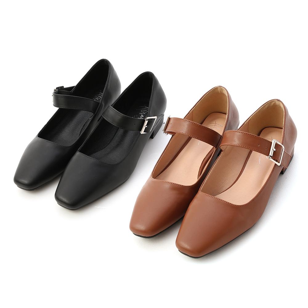 D+AF方頭低跟瑪莉珍鞋 跟鞋
