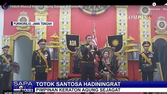 """An image from Kompas TV shows Totok Santosa Hadiningrat, the man who declared himself the leader of Keraton Agung Sejagat (The World Empire), """"mother of all states""""."""