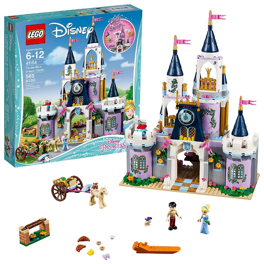 Includes Cinderella and Prince charming mini-doll figures, plus a foal and 2 Mice figuresCastle feat