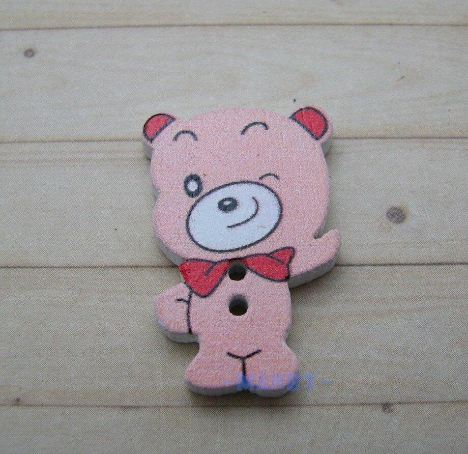 彩色造型木扣 蝴蝶結熊熊(5入) /鈕扣.扣子.DIY裝飾物卡通配飾.手工藝.拼布 手作雜貨