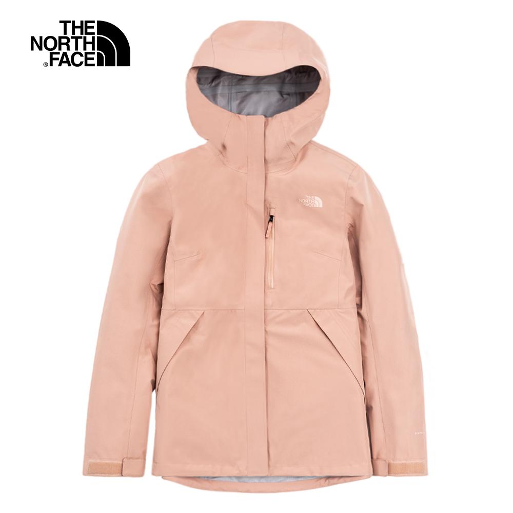 The North Face北面女款粉色防水透氣連帽衝鋒衣|496ZV3R
