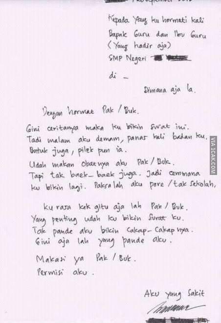Surat Izin Tidak Masuk Sekolah Karena Sakit Perut Contoh Seputar Surat