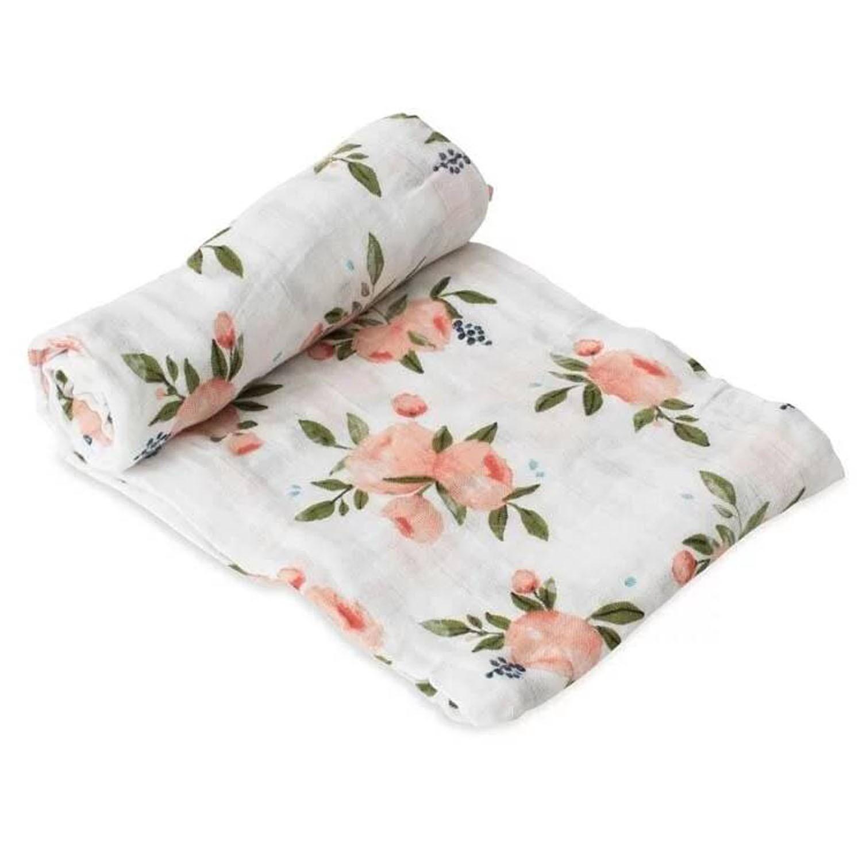 美國 Little Unicorn - 純棉紗布巾單入組-水彩玫瑰
