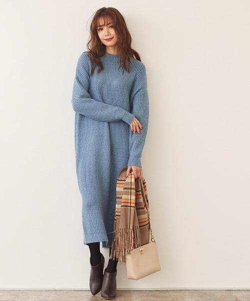 冷藍色針織連身裙