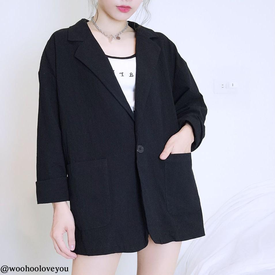 【現貨】嗚唬-扣棉麻西裝外套/OL/外套/棉麻