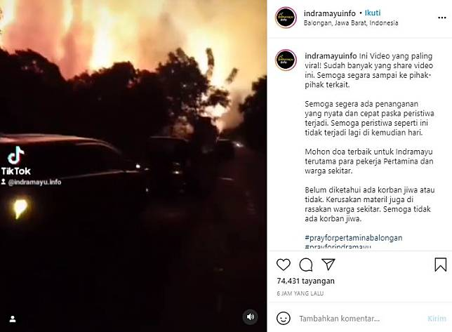 Viral video kilang minyak Balongan Indramayu terbakar (Instagram/Indramayuinfo).