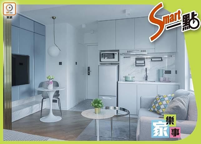 室內以白、灰藍、木色為設計元素,塑造一個簡約舒適的環境。(受訪者提供)