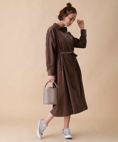 燈芯絨襯衫式連身裙