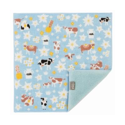 日本派迪 今治製有機優質純綿方巾-雪絨花與乳牛