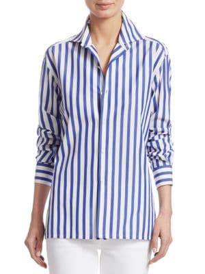 From the Iconic Collection; Menswear-inspired striped shirt cut from crisp cotton; Spread collar; Lo