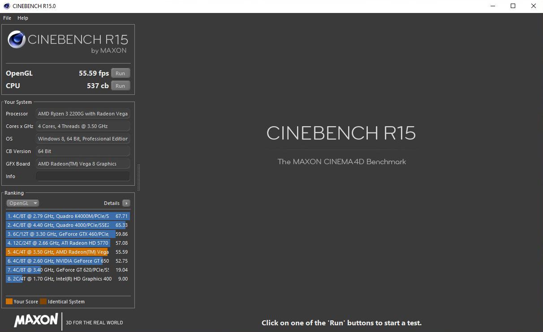 ONDA 內部人員所公布的 CINEBENCH R15 測試截圖,搭配 Ryzen 3 2200G 處理器多執行緒獲得 537cb、OpenGL 繪圖則為 59.59FPS