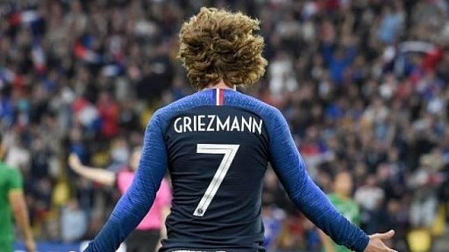 Reaksi Antoine Griezmann saat memperkuat timnas Prancis dalam laga uji coba melawan Bolivia di Nantes. Sebastien SALOM-GOMIS / AFP